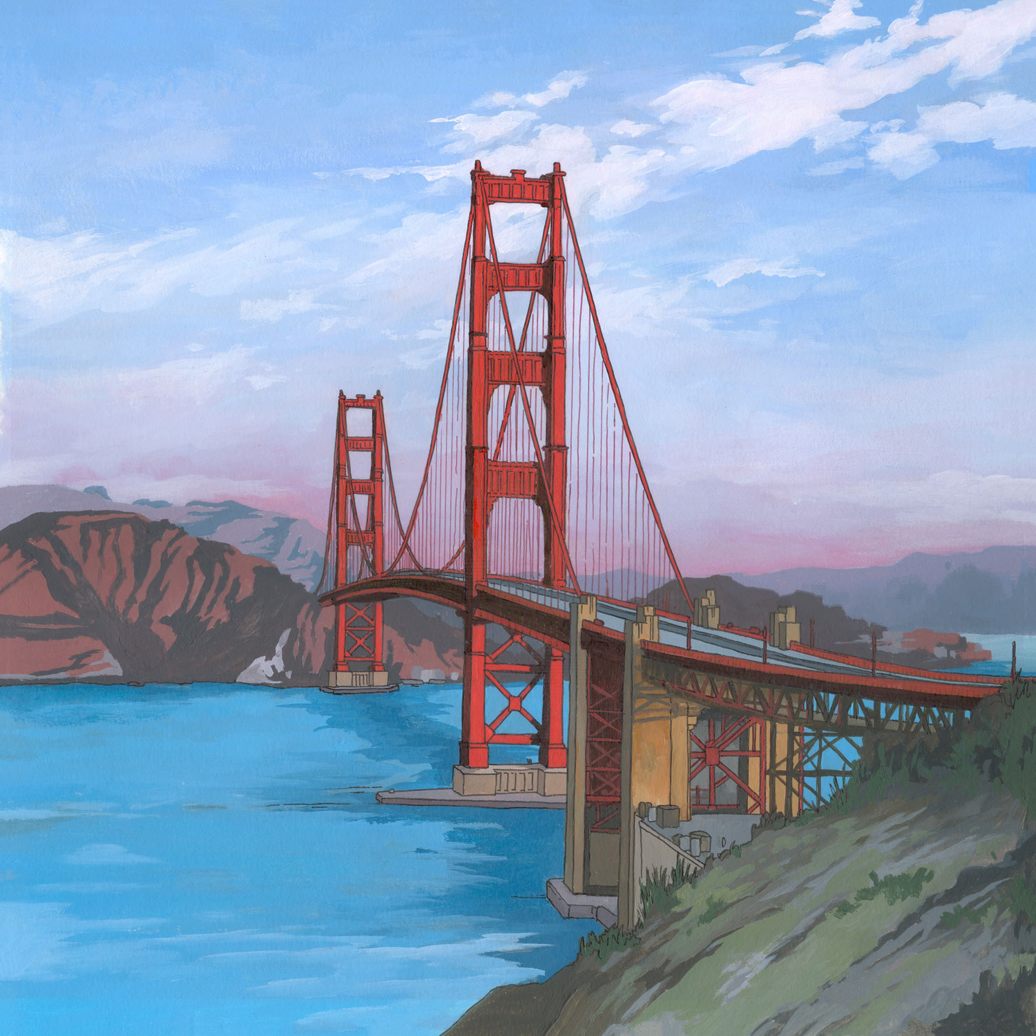 Illustration By Jonathan Golden Gate Bridge San Francisco Diagram Of The Is 29 X 29cm Created With Acrylic And Ink On Paper I Particularly Love Looking Through Photographs Featuring This