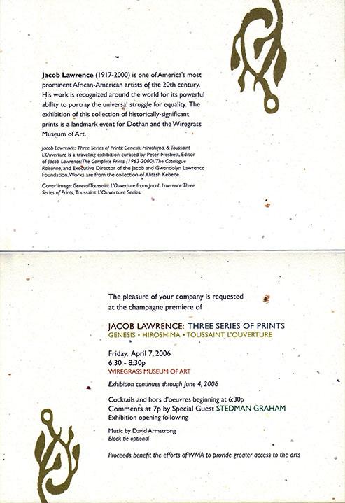 Susan Robertson Invitation To Exhibition Premiere