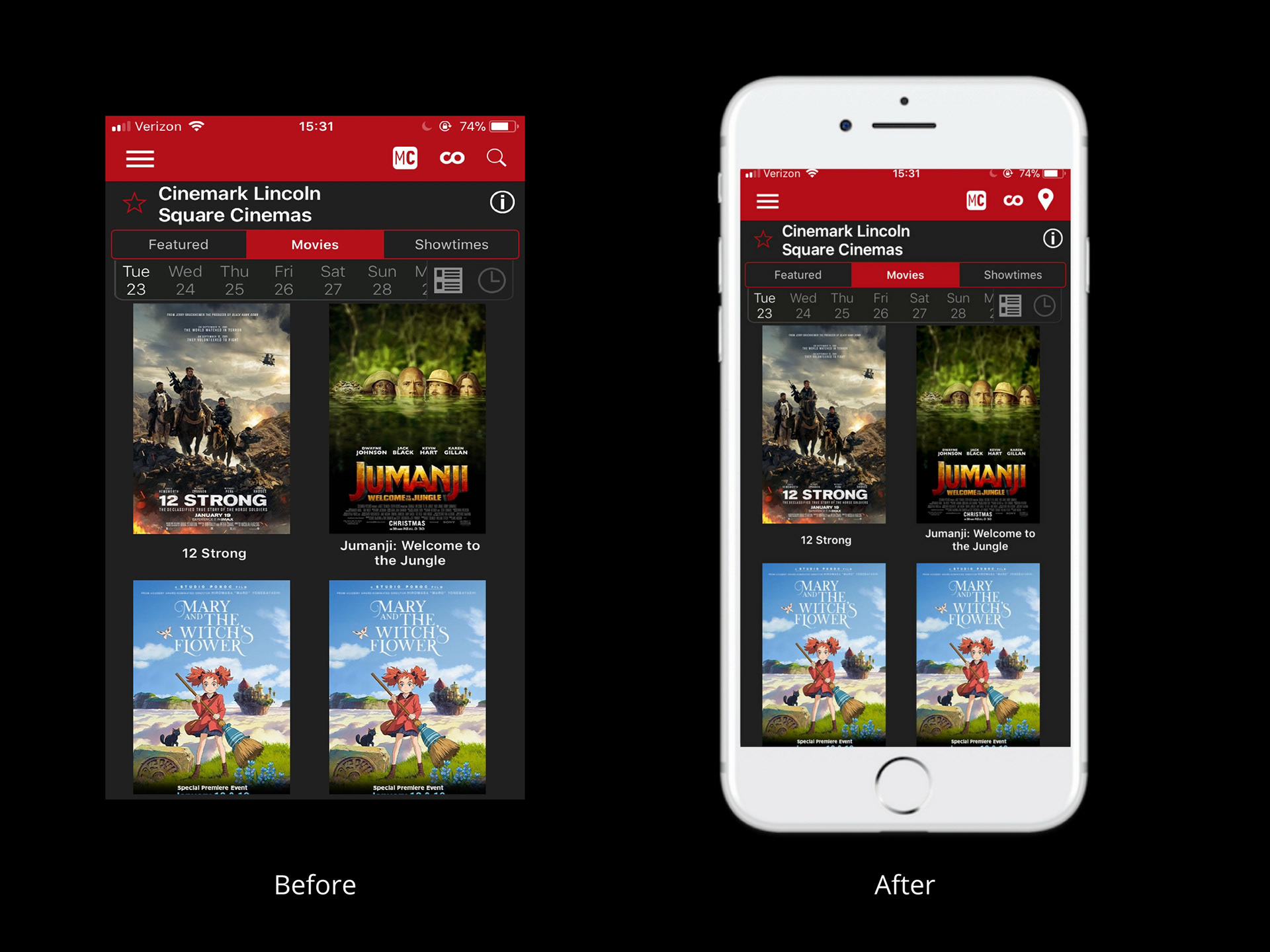 Yan Liu - Cinemark Theatres App - Redesign
