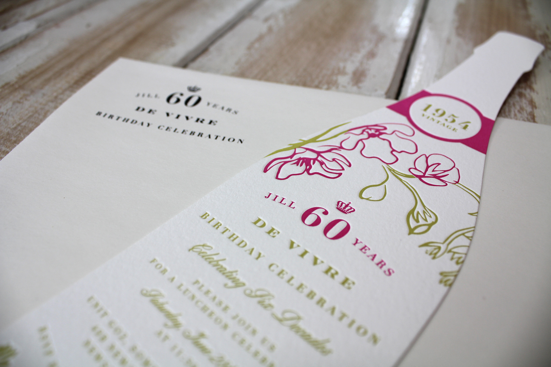 Georgia mather jill loane birthday invitation two colour letterpress birthday invitation designed for client designed under the direction of little peach co studio filmwisefo Images