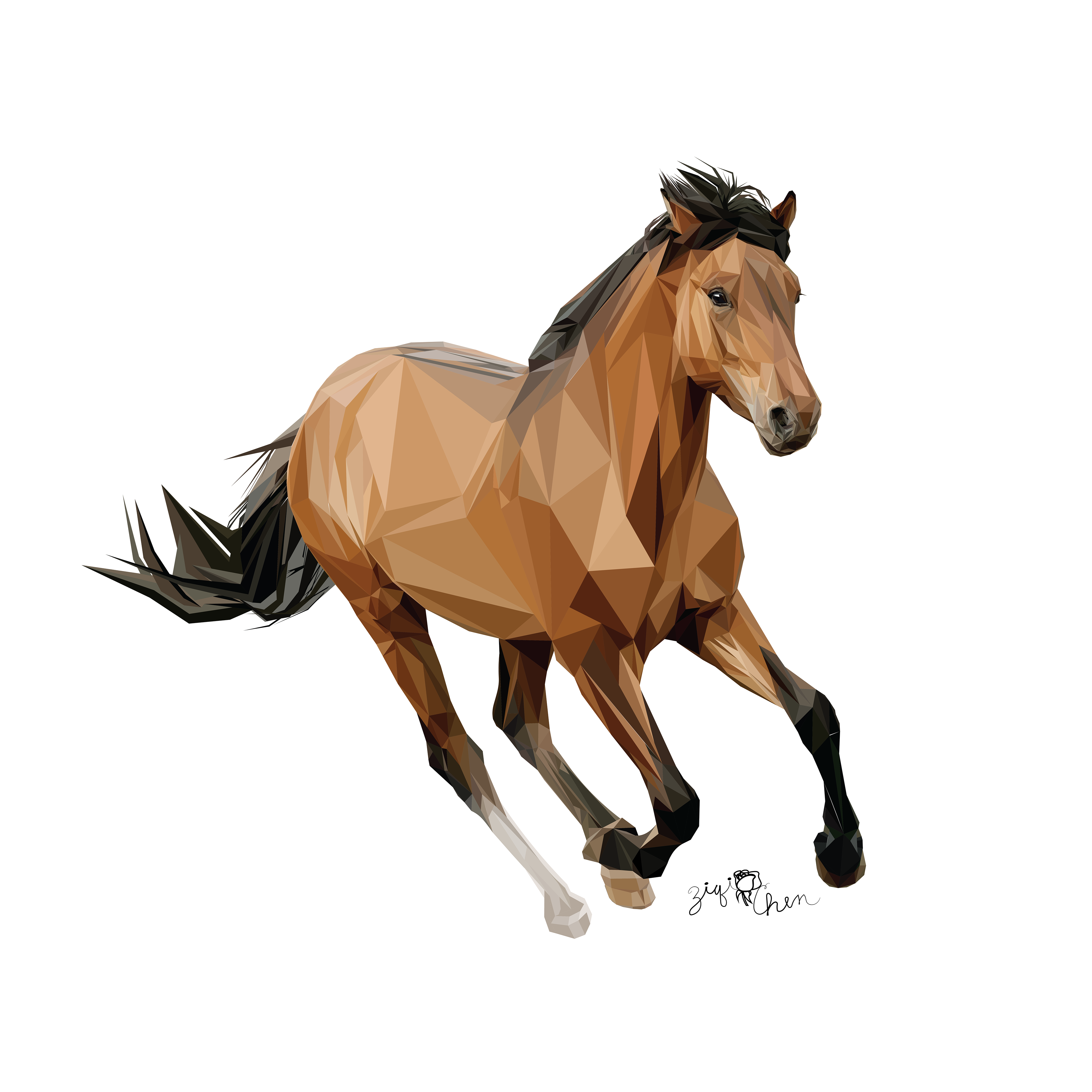 Ziqi Chen Low Poly Vector Illustrations Of Horses