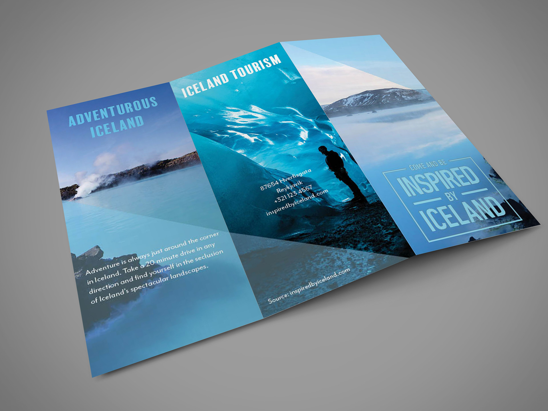 trifold travel brochure for iceland