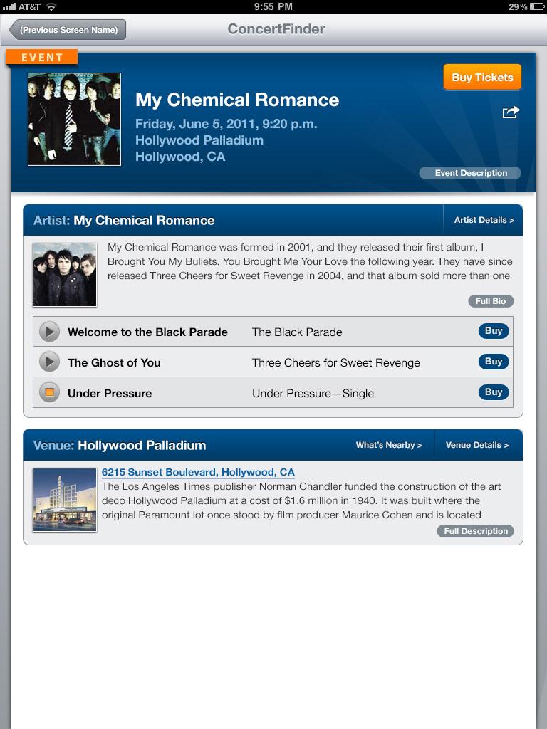 Dean Amstutz - StubHub Concert Finder iPad App