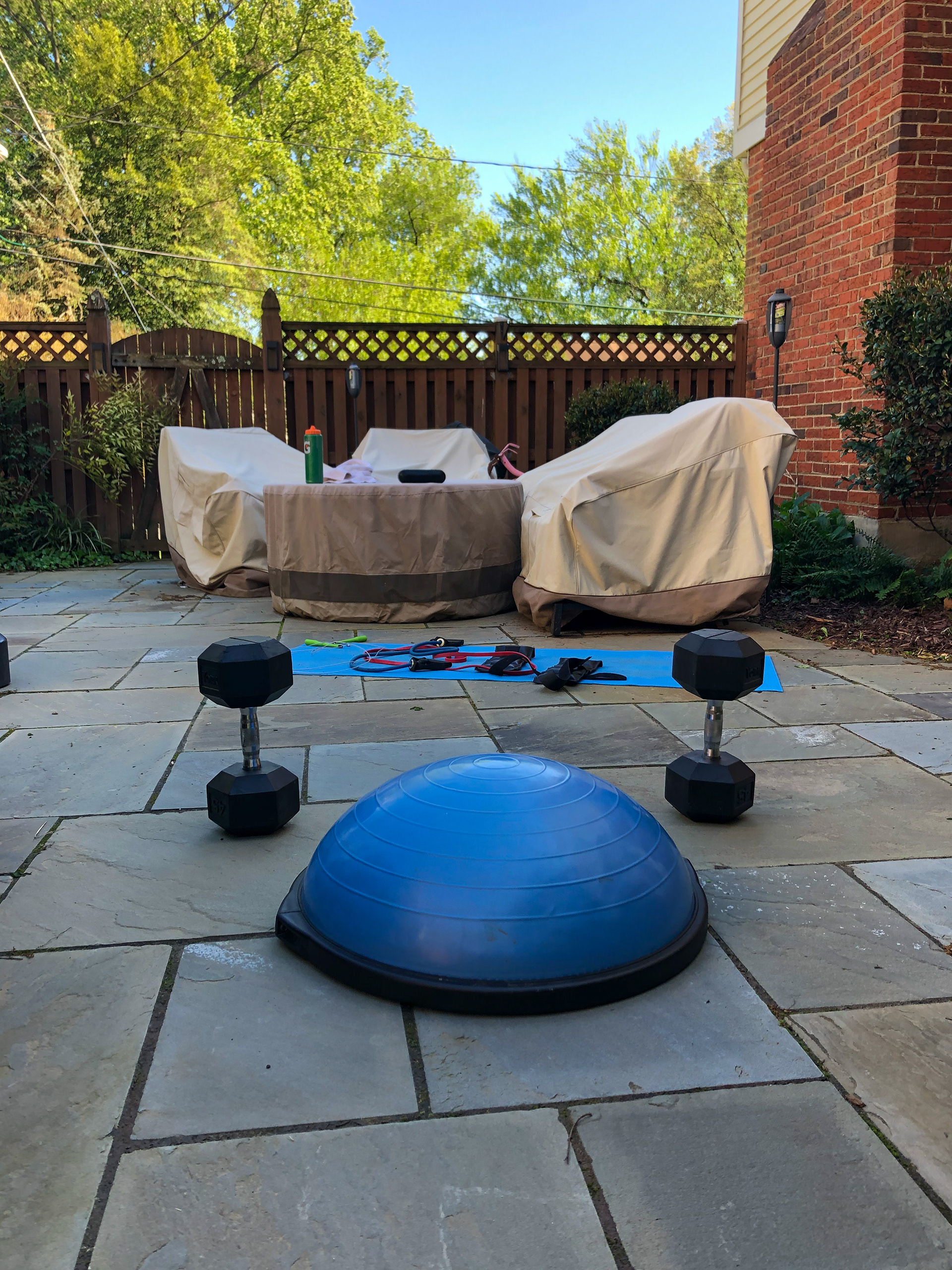 Noah Winslow's workout set up at his home, May 4th, 2020. Noah Winslow  |  Arlington, Virginia.