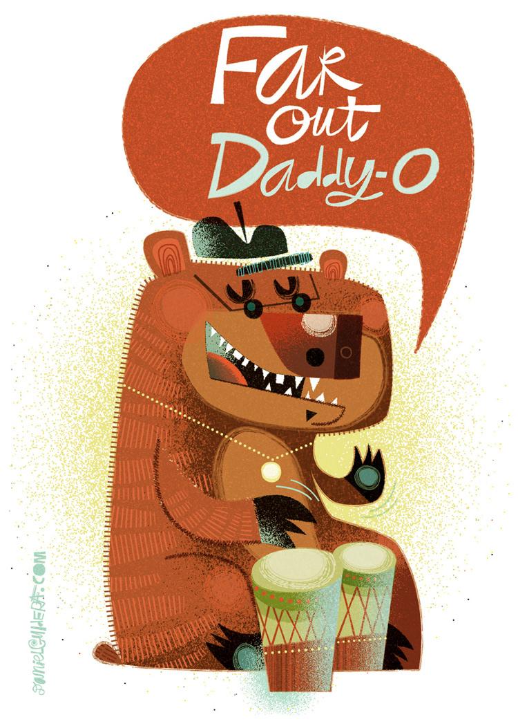 Daniel Guidera Illustration A Go Go Far Out Greeting Card