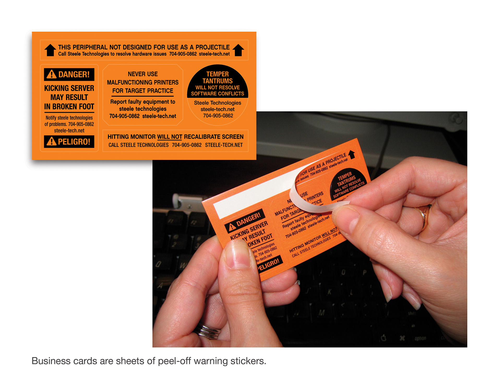 Douglas pedersen business cards for steele technologies were sheets of peel off warning stickers for customers to place on their computer equipment magicingreecefo Choice Image