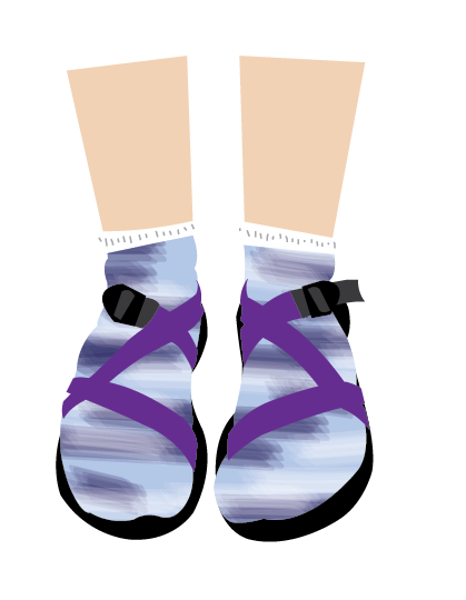 77fcb25b62de This is a Chaco sticker I created to sell on RedBubble. It shows a girl  wearing Chacos with socks.