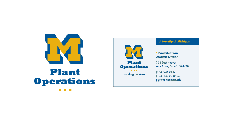 James reitz logos marks university of michigan development of the buildings and other physical properties at the university business card shows how identity is integrated with the university brand colourmoves