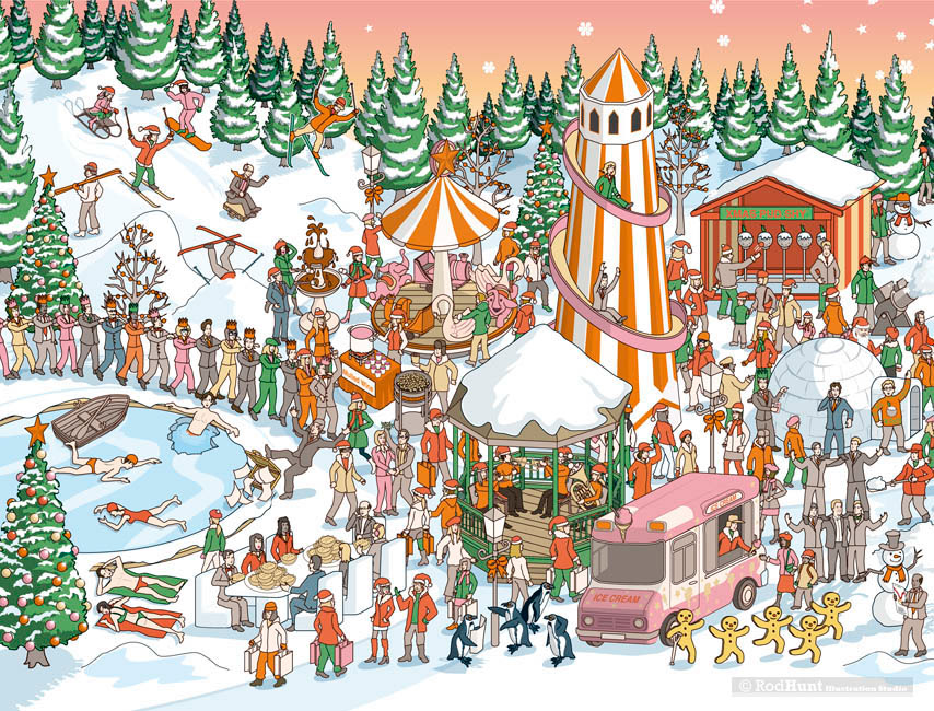 Christmas Illustrations.Rod Hunt Illustration And Illustrated Maps Map