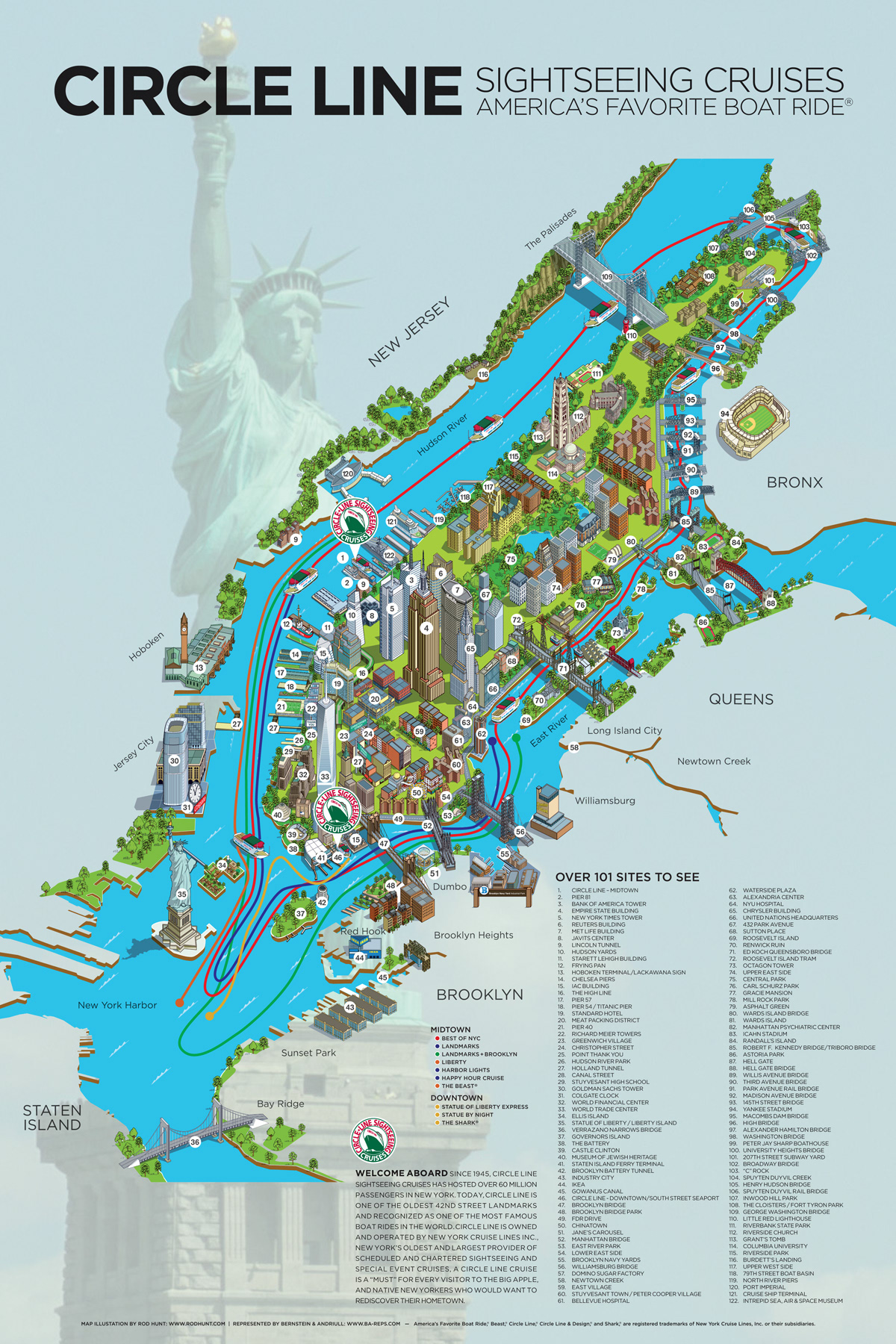 Rod Hunt Illustration And Illustrated Maps Map Illustrator Isometric Illustrations Cityscapes Infographics Animation New York City Map Illustration Circle Line Cruises