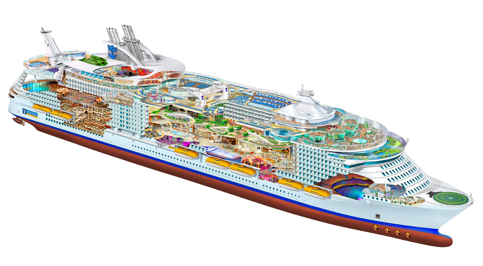 Royal Caribbean Oasis Of The Seas Cutaway Illustration Rendered In Adobe Photoshop