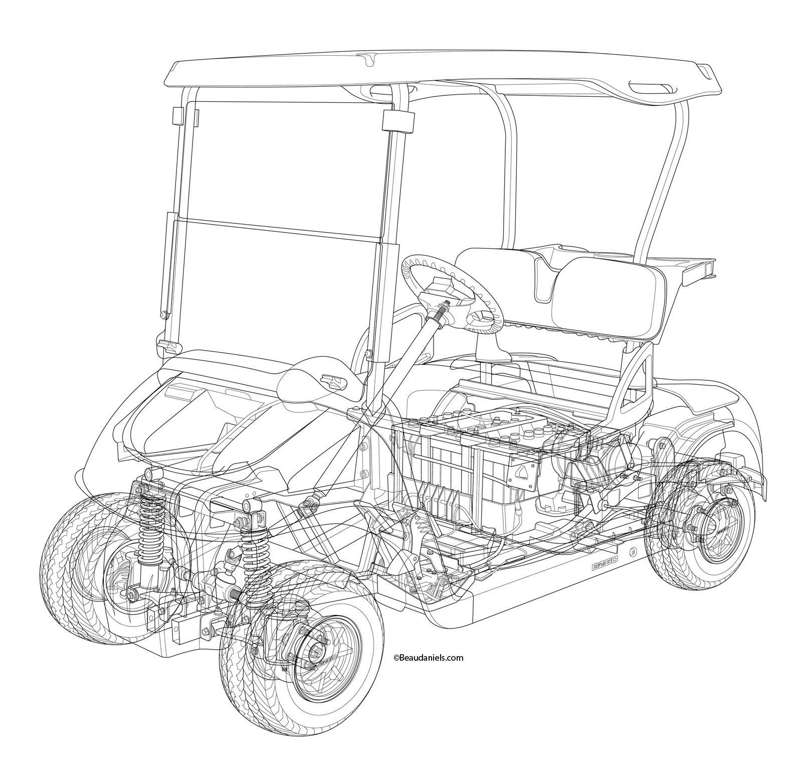 Technical illustration beau and alan daniels cutaway golf cart golf cart line art the line art that we made in illustrator so that malvernweather Image collections