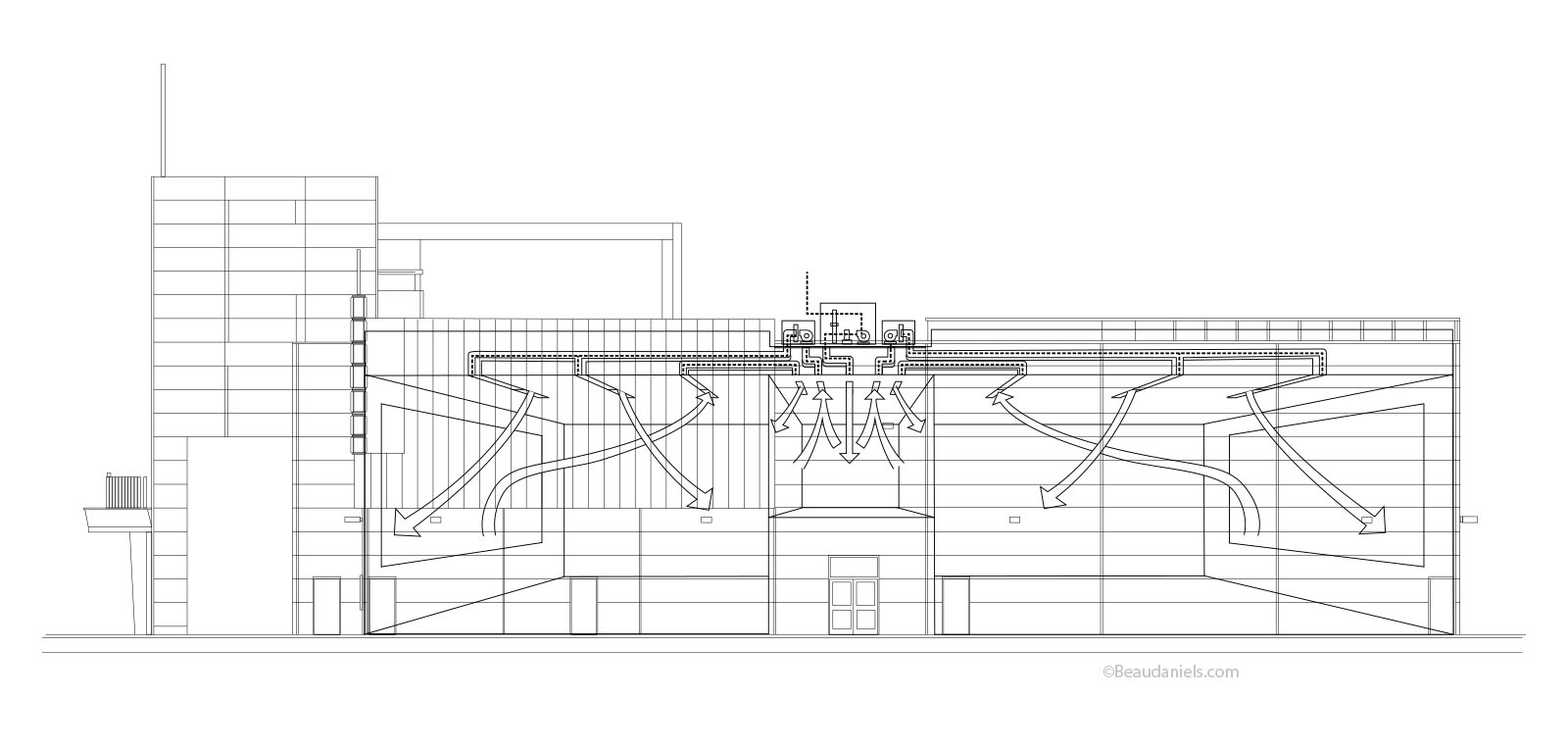 Technical Illustration Beau And Alan Daniels Hvac Animation Drawing Company Air Flow In A Typical Cinema