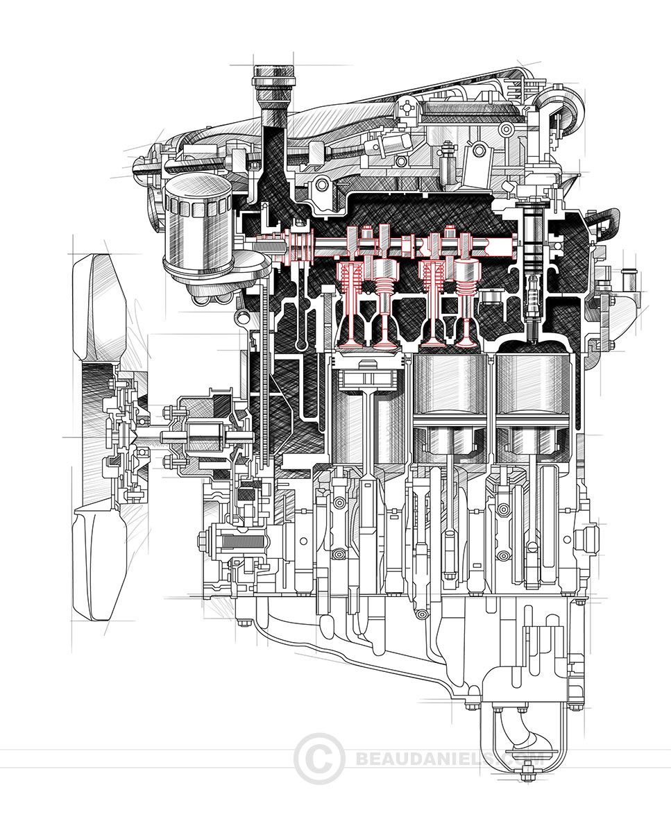 Technical illustration, Beau and Alan Daniels. - Generic car engines ...