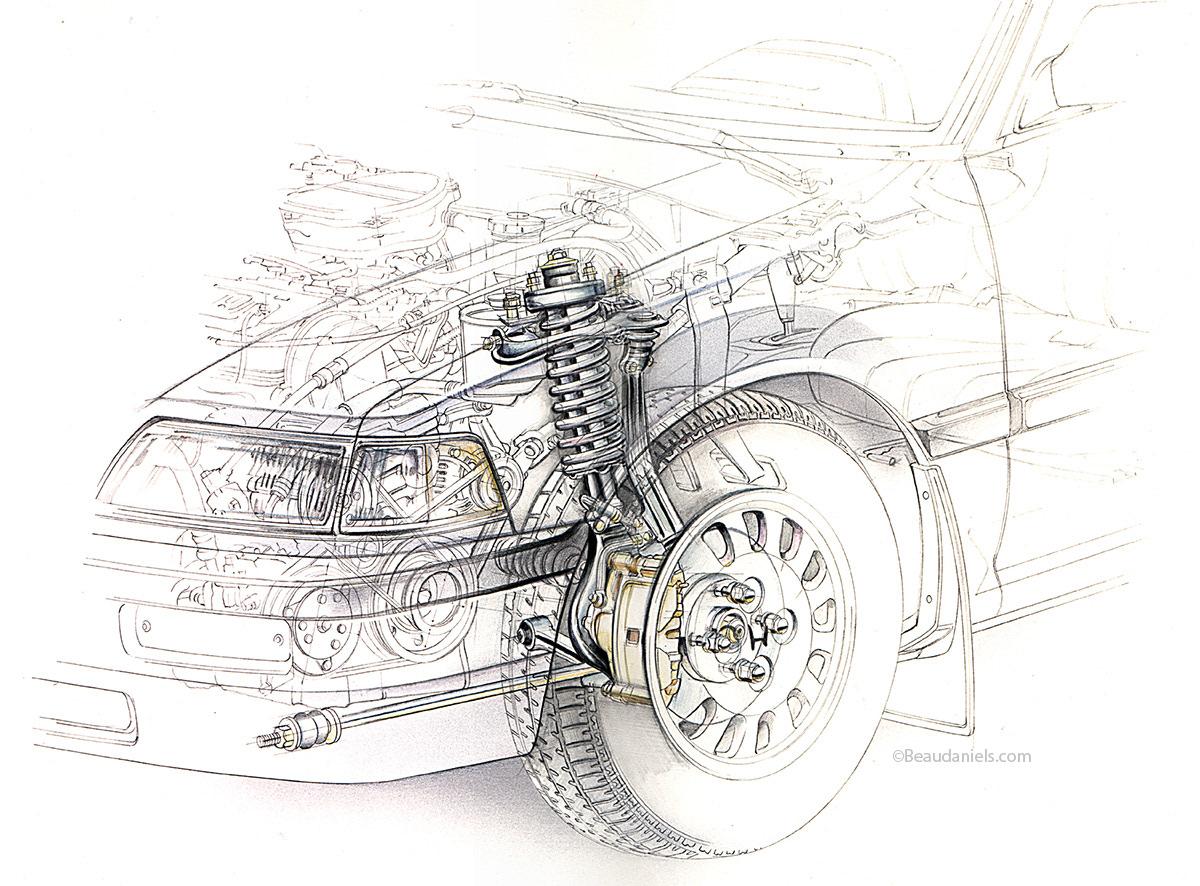 Technical illustration, Beau and Alan Daniels. - Car suspensions